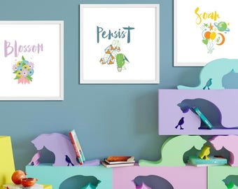 Kids Wall Art Printable sign for Nursery or Playroom  - Digital Download - Motivating messages - purple, blue, orange, green and yellow, 8x8