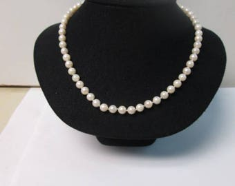"""17"""" 7.5 MM knotted pearls 14k gold length princess length new"""