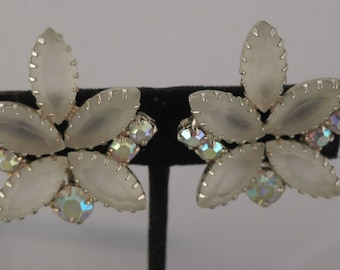 Off White Frosted Glass and Aurora Borealis Rhinestone Clip Earrings 1950s