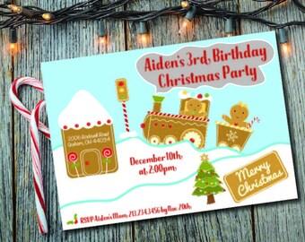 Kid's Christmas Invite, Gingerbread Chirstmas Invite, Gingerbread House Party, Christmas Cookie Invite