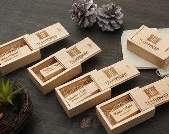 5 PACK- Thin Maple USB Flash Drive & Wood USB Box Set - Custom Engraving Optional