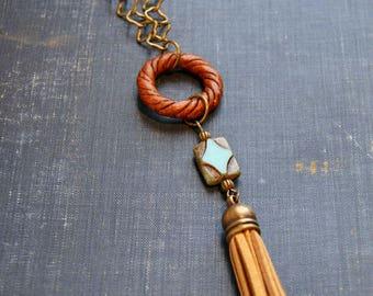 Boho Turquoise Necklace Long Tassel Necklace Asymmetrical Tassel Necklace Long Boho Jewelry Turquoise Tassel Necklace Geometric Necklace