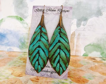 Turquoise Earrings bohemian jewelry Boho earrings long leaf earrings Patina Copper Dangle Drop