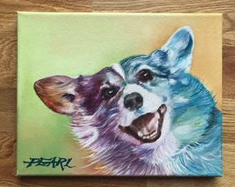 Custom dog painting, animal painting, custom pet painting, animal lover gift, pet loss, corgi painting, birthday gift