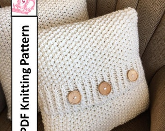 Knit pattern pdf, knit pillow cover pattern, Super Simple Seed Stitch Pillow Cover in 6 sizes - PDF KNITTING PATTERN