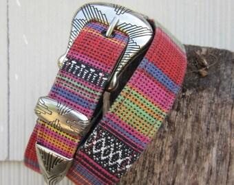 Vintage Southwestern Belt by Ribco, W26 W28 W29 / 66-74 cm // Fabric Covered Cowgirl Belt