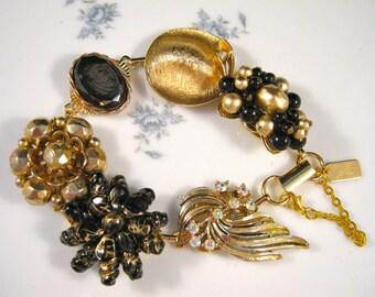 Bridesmaid Gift, Vintage Earring Bracelet, Reclaimed, Gold, Black, Cameo, Glass, Charm, Jennifer Jones, Cluster, OOAK - Night of the Comet
