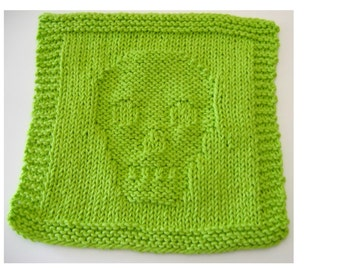 Pattern for Skull Knitted Dish or Face Cloth