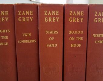 Zane Grey Vintage Editions SET OF FIVE Orange Brick Color Boards