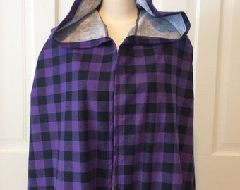 Purple and Black Plaid Hooded Cloak - Limited Edition**