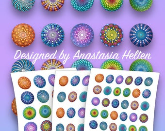 25mm, 30mm and 38mm PRINTABLE Mandala stones images