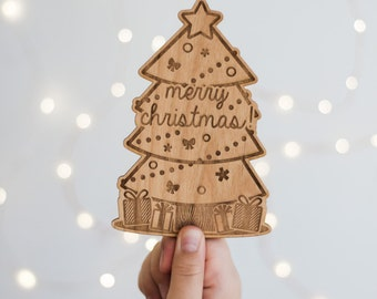 Merry Christmas Tree Wood Lasercut Card