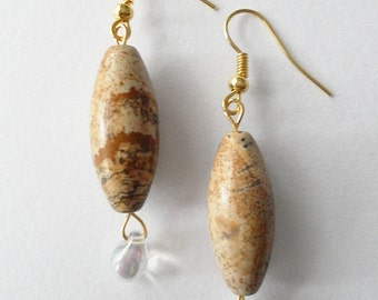 Tiny Raindrop and Natural Stone Earrings