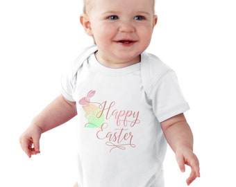 Happy Easter Watercolor Bunny Baby bodysuit