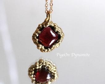 Garnet Pendant/Gold Filled and Brass Garnet Pendant Necklace/One of a Kind Simple Pendant/January Birthstone Necklace