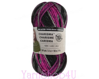 BLACK RASPBERRY Bulky Charisma Loops and Threads Yarn. This Purple and Black Ombre Yarn is 3.5oz 109yds. A Chunky Thick Soft Acrylic Yarn.
