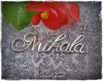 Sterling Silver Name Necklace, Personalized Jewelry, Custom Name, Wire Name, Calligraphy Script Name necklace, Name Jewelry, Silver Name