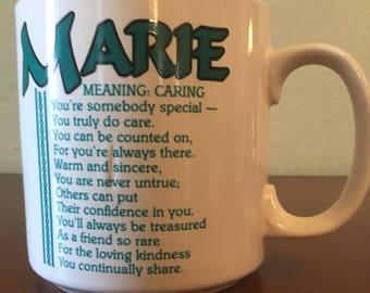 Vintage Marie Name Mug with Poem