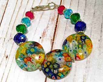 Colorful Millefiore Glass Bead Bracelet