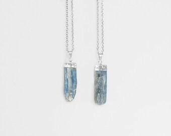 Kyanite Blade Necklace / silver plated blue kyanite