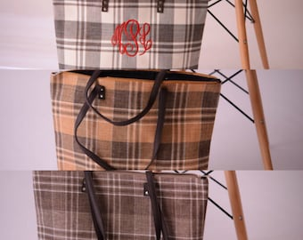Plaid Bag for Fall with FREE Embroidered Monogram and Faux Leather Handles