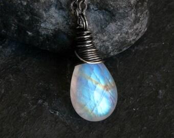 Moonstone Necklace - Moonstone Jewelry - Oxidized Sterling Silver Necklace - Rainbow Moonstone Necklace - June Birthstone - CircesHouse