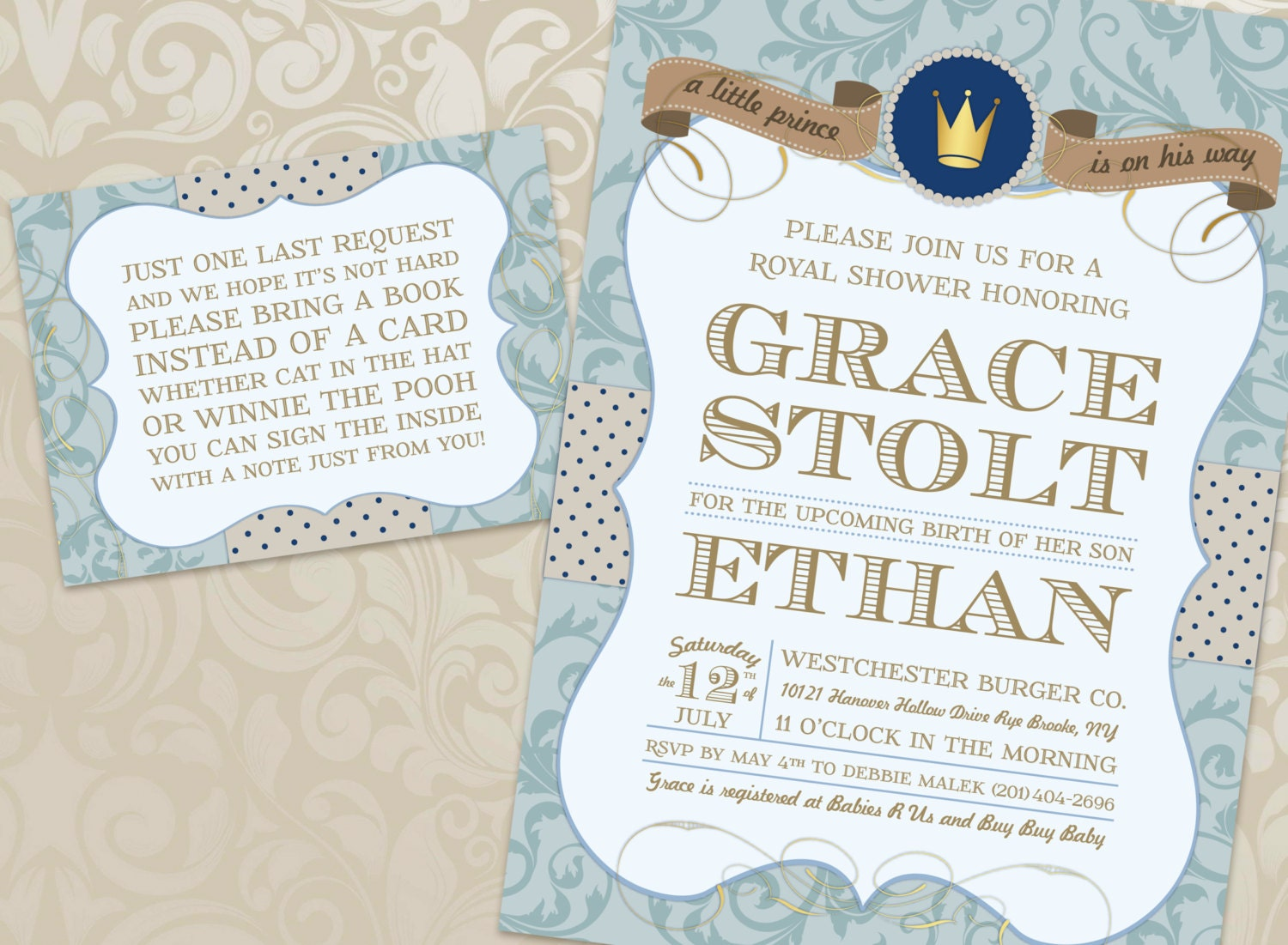 Royal Prince Baby Shower Invitation and Book Card with Free
