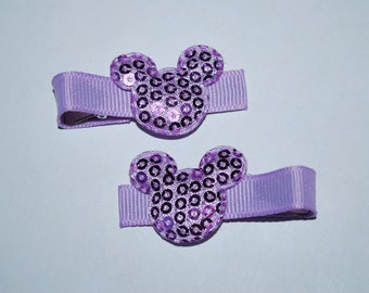 Mickey Mouse Purple Sequin Hair Clips - Buy 3 Items, Get 1 Free