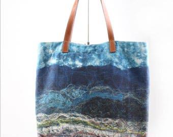 Beautiful Korean handmade natural dye art bag_blue