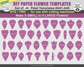 40 SVG Paper Flower Templates, Petal Templates A01-A40,diy Giant Paper Flowers, svg Templates, svg  png molde de flores de papel