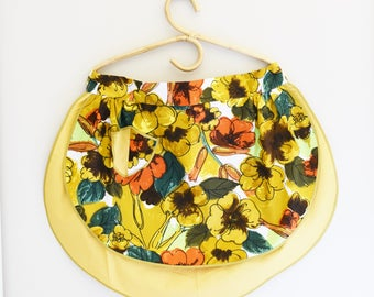 Retro Half Apron - Reversable - Retro Floral Fabric - Only Mustard Yellow Left -  60's - 70's  Era