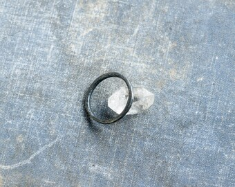 raw silver black ring - oxidized sterling silver ring, hammered black ring, organic silver simple ring, artisan jewelry