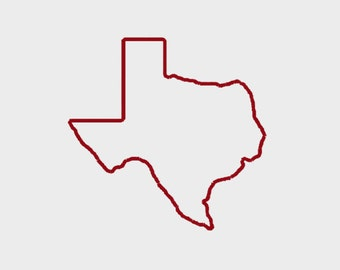 "Texas State Map Appliqué embroidery file in Multiple file formats in 5 sizes (2"", 3"", 4"", 5"", 6"") - INSTANT DOWNLOAD -  Item # 5000"