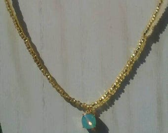 Gold and Turquoise Beaded Pendant Necklace