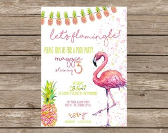 Flamingo Pineapple Birthday Invitation with Coordinating Back