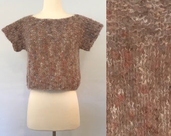 90s Beige Fuzzy Mohair Sweater Top