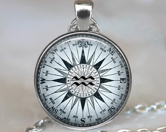 Compass Aquarius necklace, Aquarius pendant Compass Zodiac jewelry Aquarius jewelry astrology birthday gift key chain key ring key fob