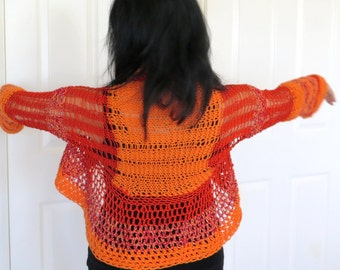 Lacy orange knit shrug, orange and red color block sweater jacket, fine hand knit outerwear