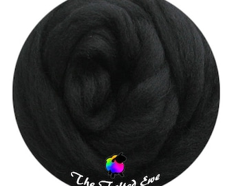 Needle Felting Wool Roving / ES35 Black Panther Carded Wool Sliver