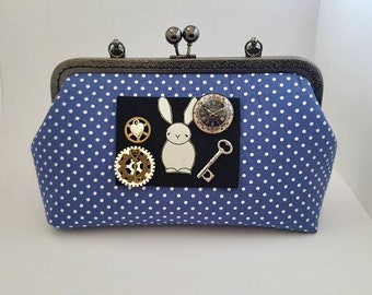 Blue polka dot clutch bag, rabbits, prom, wedding, Alice in Wonderland