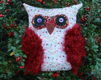 Owl shaped pillow Decorative owl accent pillow Home decor Burgundy flower pattern Kids room Stuffed owl Christmas gift for teens