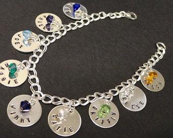 Personalized Bracelet - Birthstone Jewelry - Mothers Jewelry - Grandmothers Jewelry - Birthstone Jewelry - Sterling Silver
