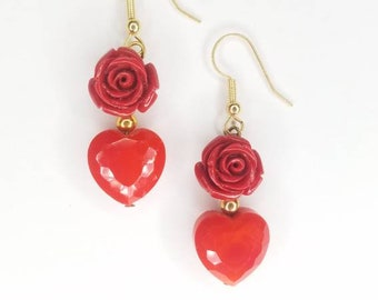 Red Rose + Glass Heart Earrings