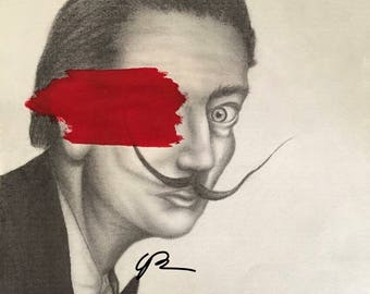 Salvador Dali art print drawing