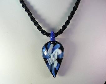 Tear Drop Glass Flower Pendant Necklace