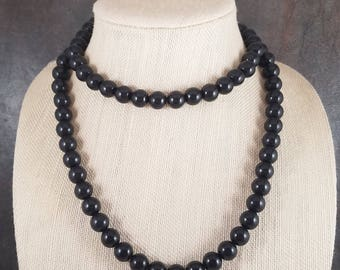 Charcoal Black Long Necklace, Black, Gray, Rope Necklace, Long Necklace, Bead Necklace, Gumball, Strand, Layering Necklace, Black Necklace