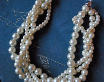 Ivory Chunky Pearl-4 Strand- Twisted Statement Necklace