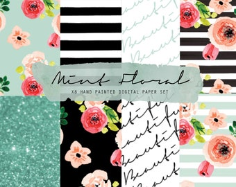 Floral digital paper - Floral watercolor digital paper - Floral background download - Scrapbook - Hand painted papers - Floral planner