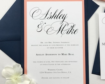 Coral and Dark Blue Wedding Invites Navy and Peach Classic