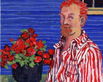 """Art Print """"Vincent Van Gogh and Geraniums""""-8x10 print of my original acrylic painting-Fantasy picture-handsigned-by Patty Fleckenstein"""